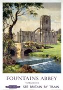 Fountains Abbey, Ripon, Yorkshire. Vintage BR (NER) Travel poster by Gyrth Russell. 1956